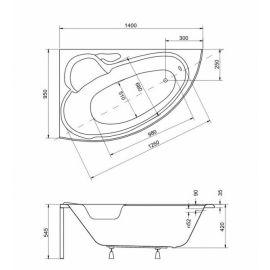 Размеры   угловой ванны в маленькой ванной Finezja Nova Besco 140.