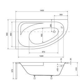 Размеры правосторонней ванны с скругленным углом Cornea 150.