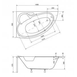 Черчеж-схема угловой ванной из акрила Bianka Besco.