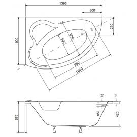 Акриловая ванная на заказ BESCO Ada 140  - схема и размеры.