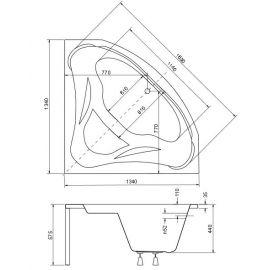 Схематические размеры Вид на акриловой угловой ванны с сиденьем Ewa 134.
