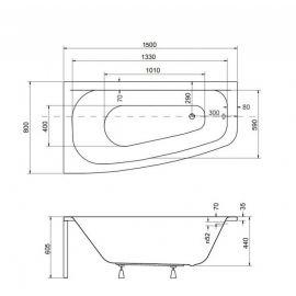 Размеры ванны  Luna 150 L/P.