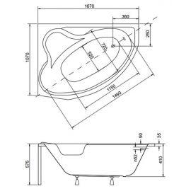 Схематические размеры угловой ванны с подголовником Delfina Besco из акрила.