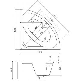 Размеры на схеме семейной ванны Luksja 148 от Besco.