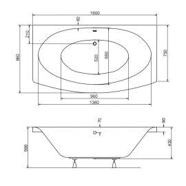 Размеры ванны  отдельностоящей пристенной Telimena Besco 160.