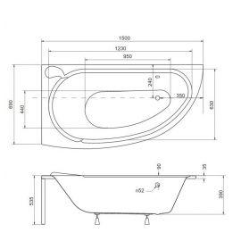 Схема акриловой ванны Mini 150.