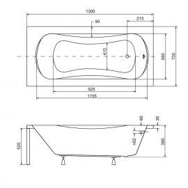 Размеры маленькой акриловой ванной Aria 130.