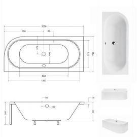 Размеры акриловой ванны Besco 150.