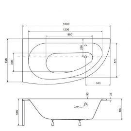 Схематические размеры ванны Besco Milena.