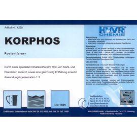 Этикетка Korphos - растворителя ржавчины