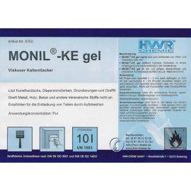 Этикетка очистителя краски и лака MONIL-KE гель.