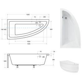 Размеры ванны  Praktika Besco 150х70 см, Ориентация: левая
