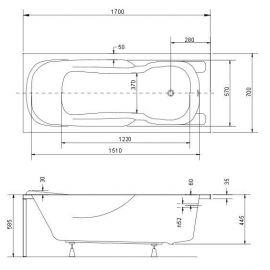 Схема с размерами ванны Besco Majka Nova 170х70 см