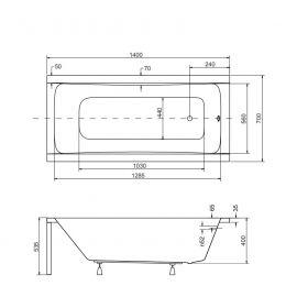 Размеры акриловой ванны Optima 140х70 см.