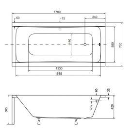 Схема с размерами ванны Optima 170х70 см