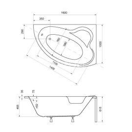 Размеры акриловой ванной на заказ Ада 160.