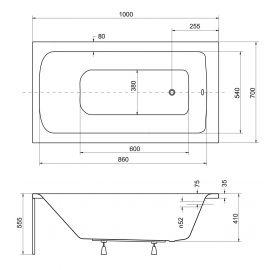 Размер маленькой акриловой ванны  Besco Talia 100х70 см.