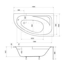 Размеры левосторонней ванны с скругленным углом Cornea 150.