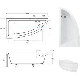 Размер ванны Praktika Besco 140.