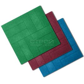 Резиновая тротуарная плитка из резиновой крошки Кирпич 50х50х4 см.