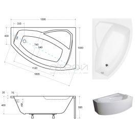 Размеры акриловой ванны Besco Rima 160.