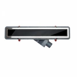 Вид сверху душевого трапа с стеклом Confluo Premium With Black Glass Line от PESTAN.