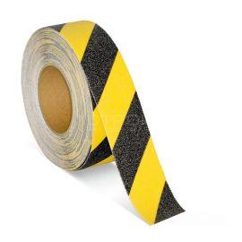 Черно желтая противоскользящая предупреждающая лента melhose