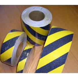 Черно желтая противоскользящая предупреждающая лента melhose в рулонах разной ширины