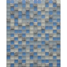 Серо-голубой мозаичный микс GS083 из стекла и камня