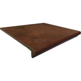 Клинкерная ступень с капиносом шоколадного цвета - Ступень фронтальная Interbau Nature Art 114 Cognac Braun 360x320 мм R10