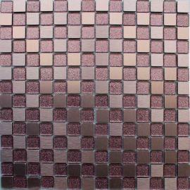 Микс мозаики из  металлических и стеклянных чипов с блестками