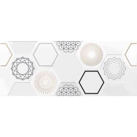 Даймонд 7 Панно 20х50 декор настенный белого цвета с геометрическим орнаментом