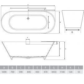 Стильная ванна из мрамора Bergamo 170 Alpen - схематический чертеж.