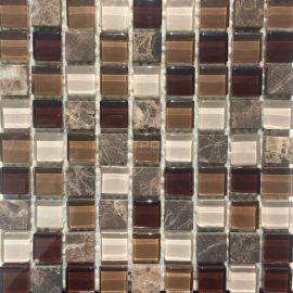 Мозаика на сетке стеклянная со вставками из натурального камня GS300
