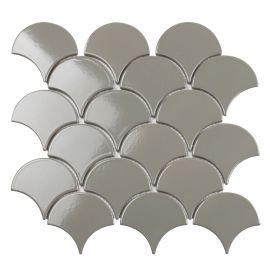 Керамическая мозаика Fan Shape Dark Grey Glossy 29,3х27,4 см в виде рыбьей чешуи