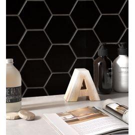 Hexagon big Black Matt 25,6х29,5 см керамическая шестиугольная мозаика в интерьере
