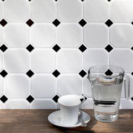 Octagon big White/Black Matt 30х30 см (лист) керамическая мозаика для стен