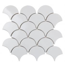 Керамическая мозаика в виде рыбьей чешуи  Fan Shape White Glossy