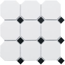 Octagon big White/Black Matt 30х30 см (лист) керамическая мозаика