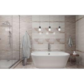 Декор Pandora Latte Charm Decor 31,5x63 см с геометрическим узором в интерьере ванной