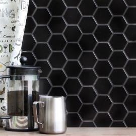 Hexagon small Black Matt 5,1х5,9 см керамическая матовая мозаика в интерьере