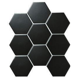 Hexagon big Black Matt 25,6х29,5 см керамическая шестиугольная мозаика
