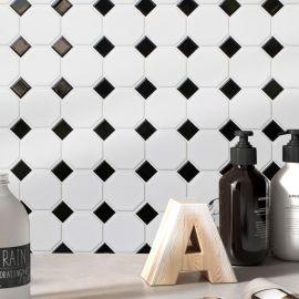 Octagon small  White/Black Matt 29,5х29,5 см (лист) настенная керамическая мозаика