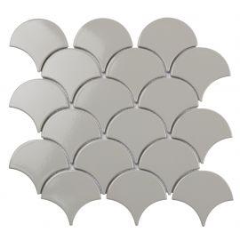 Керамическая мозаика в виде рыбьей чешуи  Fan Shape Light Grey Glossy