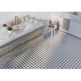 Octagon small  White/Black Matt 29,5х29,5 см (лист)  напольная керамическая мозаика