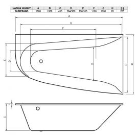 Схема правой ванной акриловой асимметричной Boomerang Vayer.