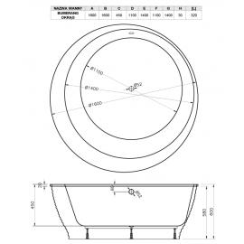 Схематические размеры круглой ванны круглой формы Boomerang Vayer.