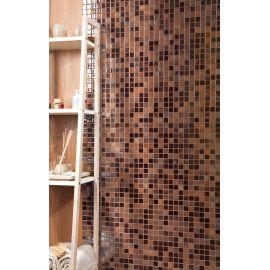 Lux 406 коричневый микс высокоглянцевой мозаики Vidrepur в интерьере