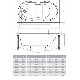 Схематические размеры акриловой ванны Alpen Mars.