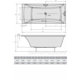 Размеры ванны в загородном стиле Alia Alpen.